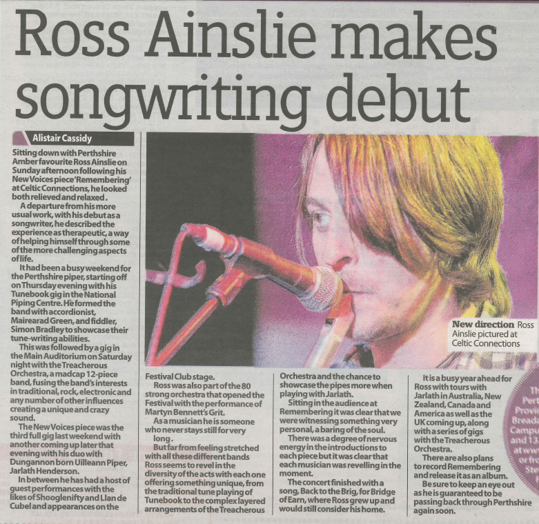 Ross Ainslie @ Celtic Connections Perthshire Advertiser article