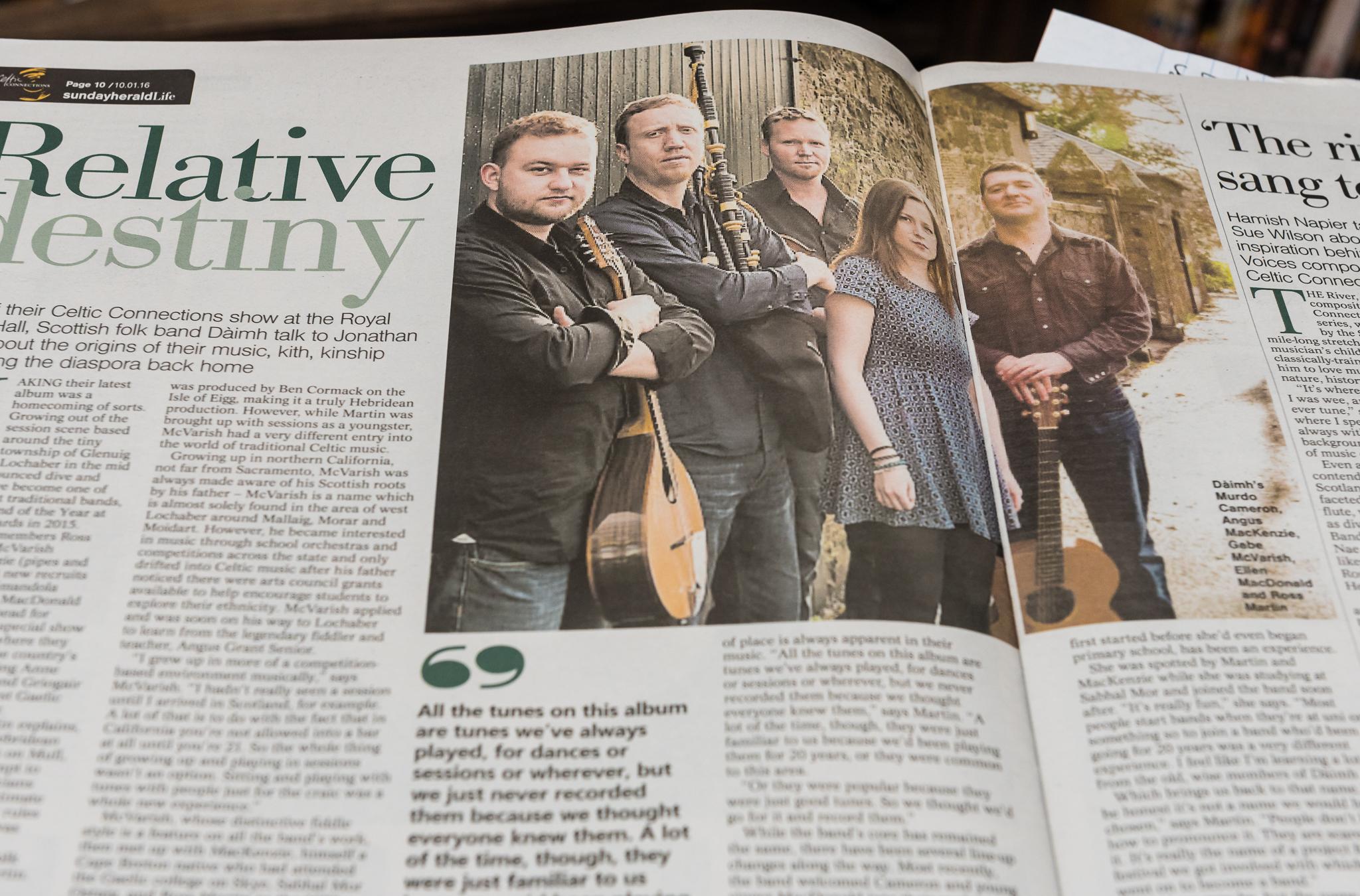 Sunday Herald Life Magazine - 10th January 2016