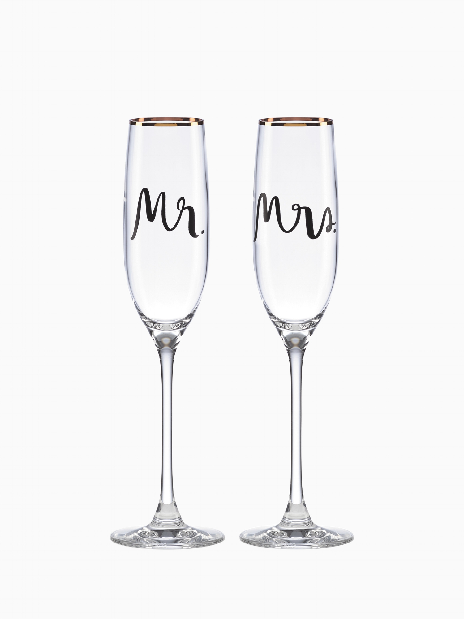 """Kate Spade Mr & Mrs Champagne Flutes  It's time to make a toast to love, marriage and a wonderful life with these gorgeous 6 oz Champagne flutes, romantically labeled """"Mr & Mrs"""" Great for the wedding day toast and for many years after!"""