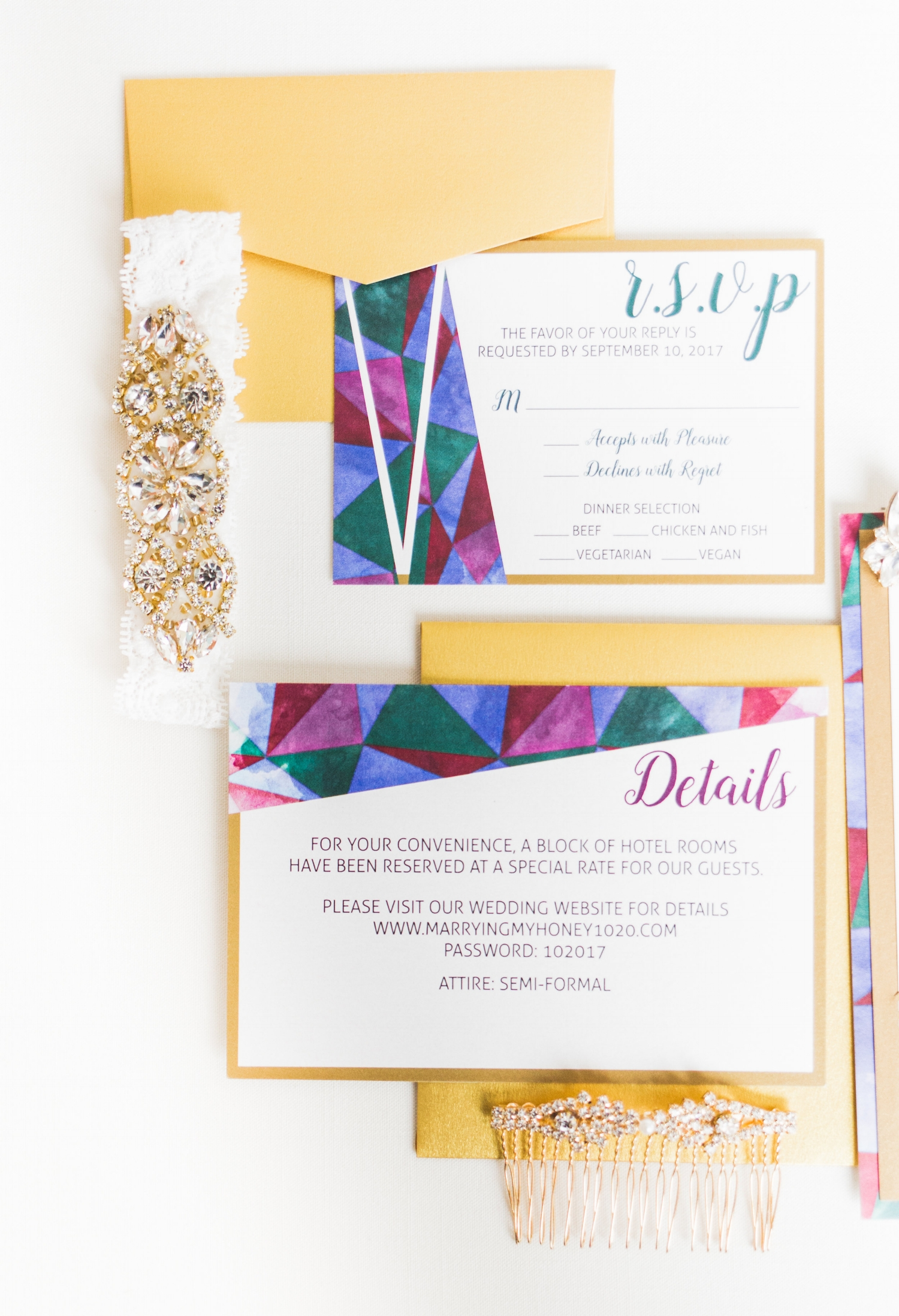 Clarity and Class Washington DC Elegant Jewel Toned Wedding Invitation
