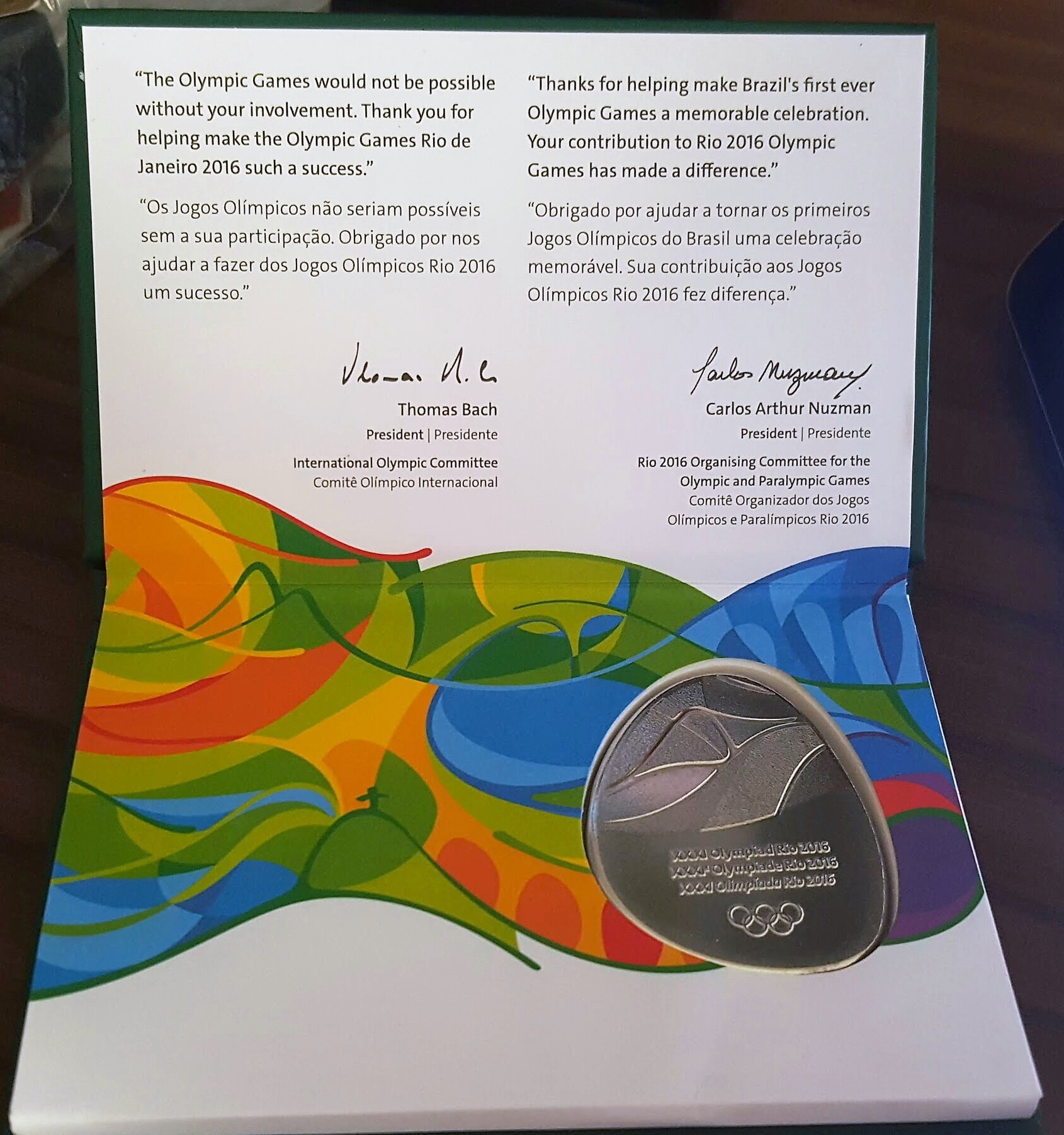 A beautiful gift for working in the Rio 2016 Olympic Games -