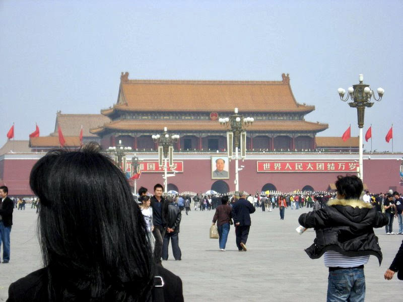Tiananmen Square - Jet lag has never stopped me from taking a quick tour of any city I'm in…work or no work!Yep…that's me on the left, as my sister furiously snaps pics before we have to be back at the hotel for a meeting.