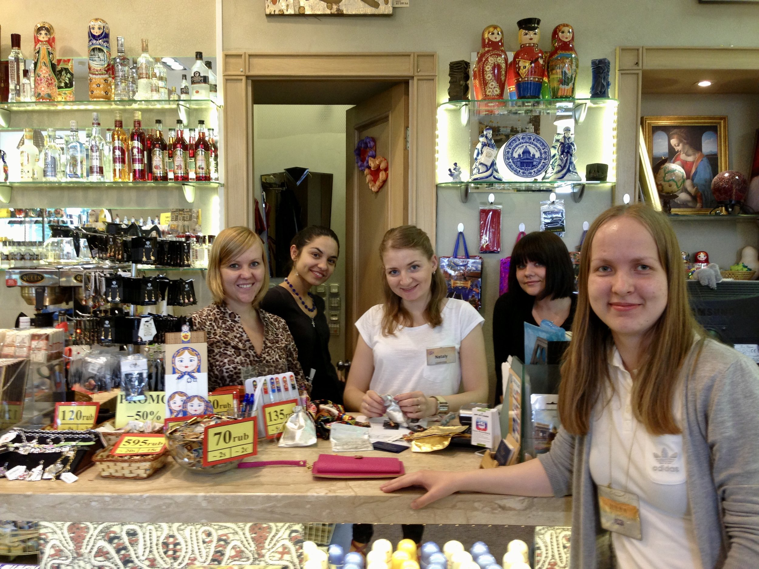 Five of the friendliest, sweetest, funnest girls in a Moscow souvenir shop