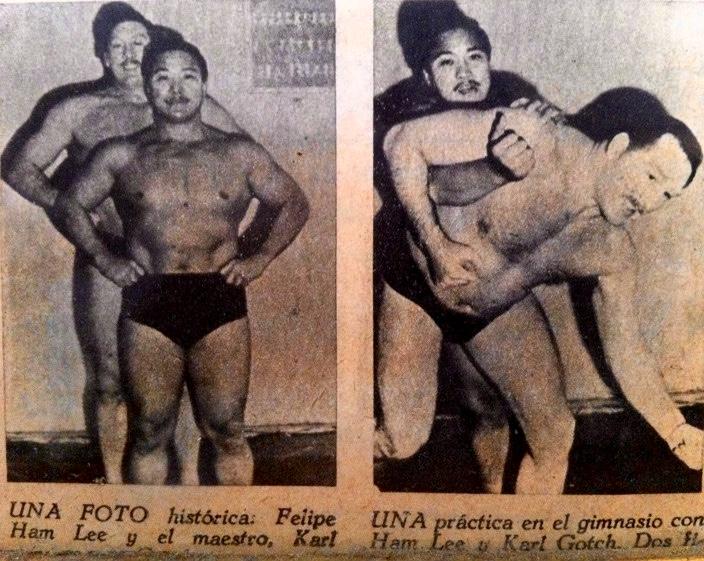 Dad with Karl Gotch, a legend in Wrestling