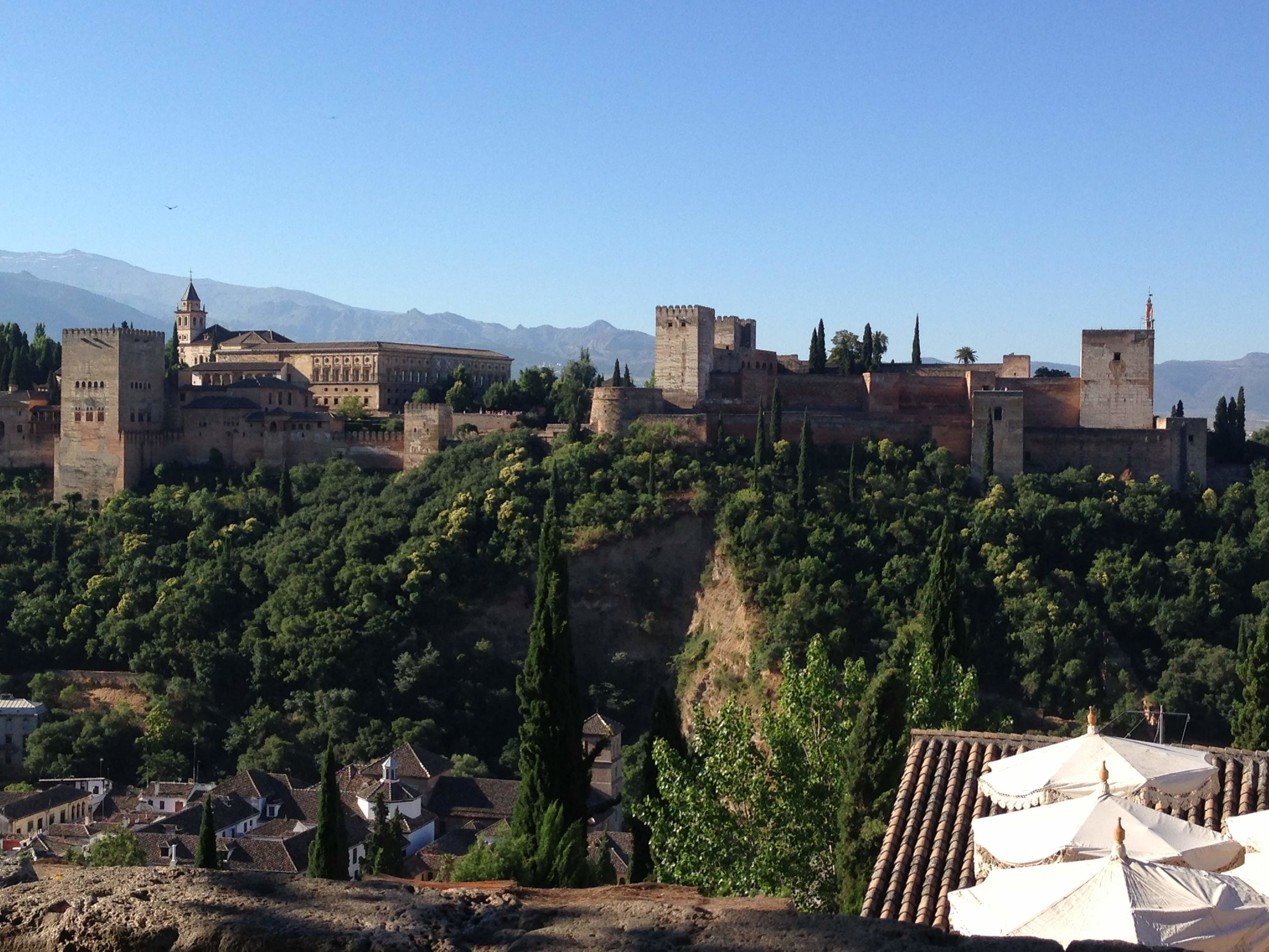 The Alhambra Palace viewed from opposite hill