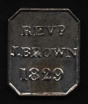 Obverse of Brown's communion token.