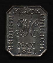 Reverse of Brown's communion token.