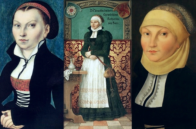 Katharina von Bora, Martin Luther's wife, with several different headcoverings.