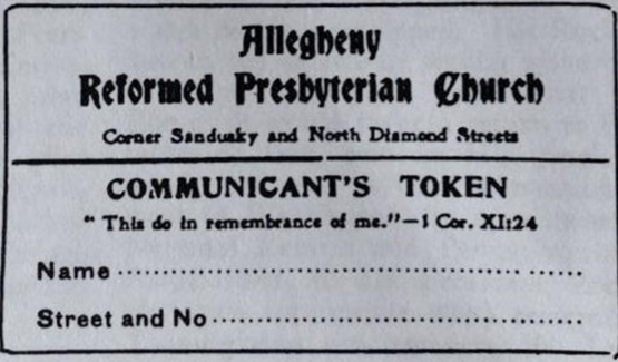 Reformed Presbyterian Communicant Ticket.
