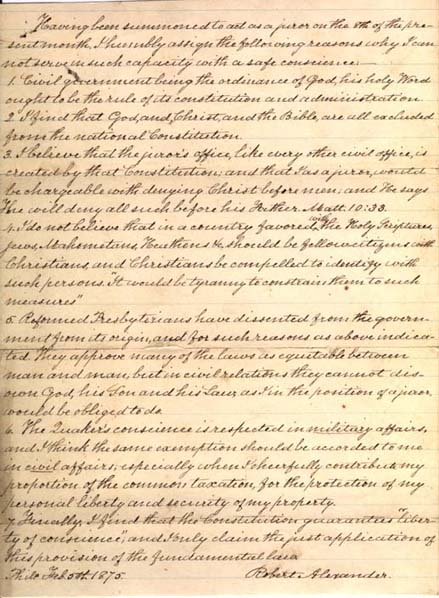 Manuscript of the reply to a jury summons.