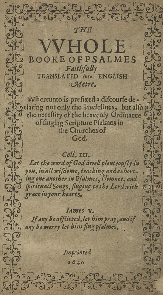 Title page of the Bay Psalm Book, the first book published in New England.