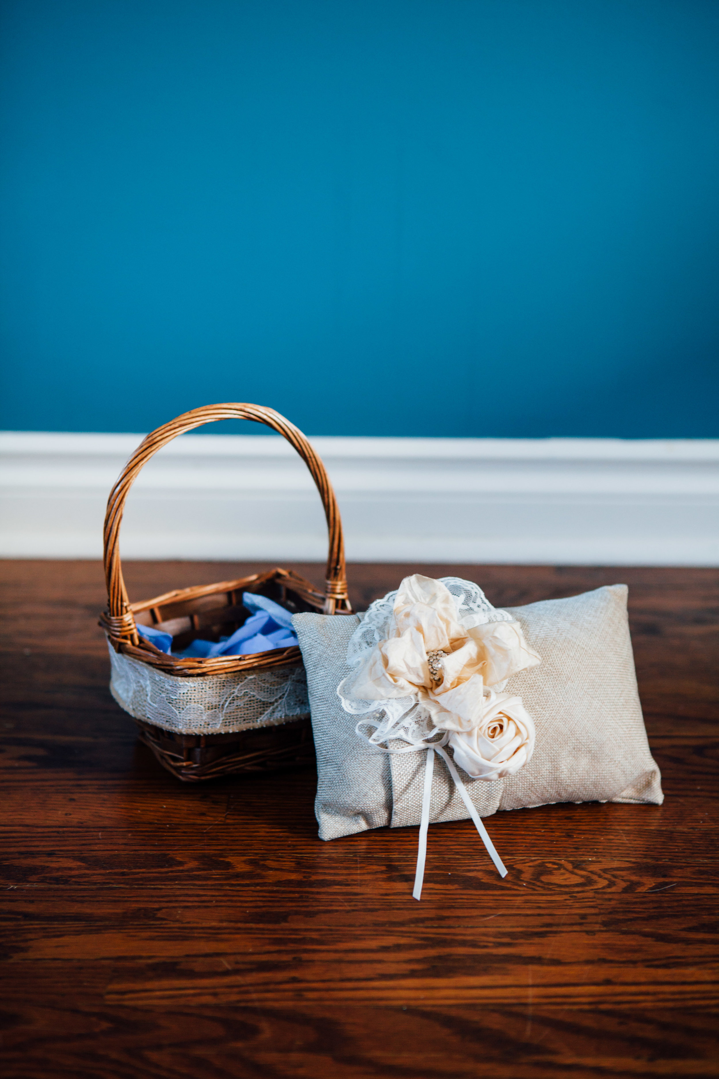 Flower Girl Basket with Pedals and Ring Bearer Burlap Pillow