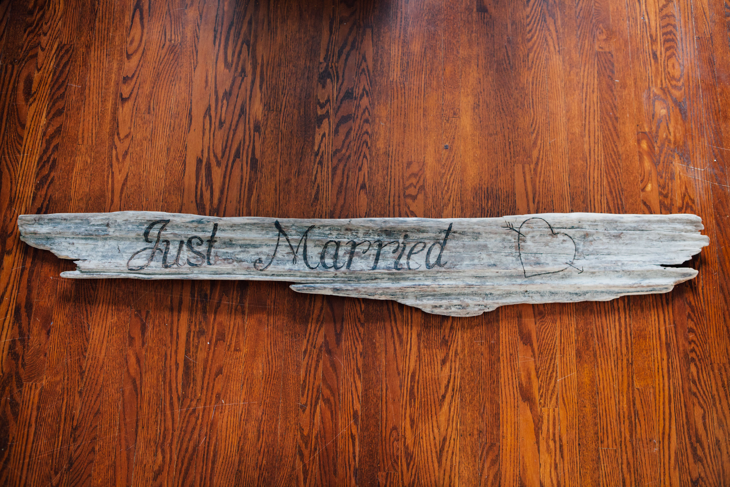Just Married Driftwood Sign