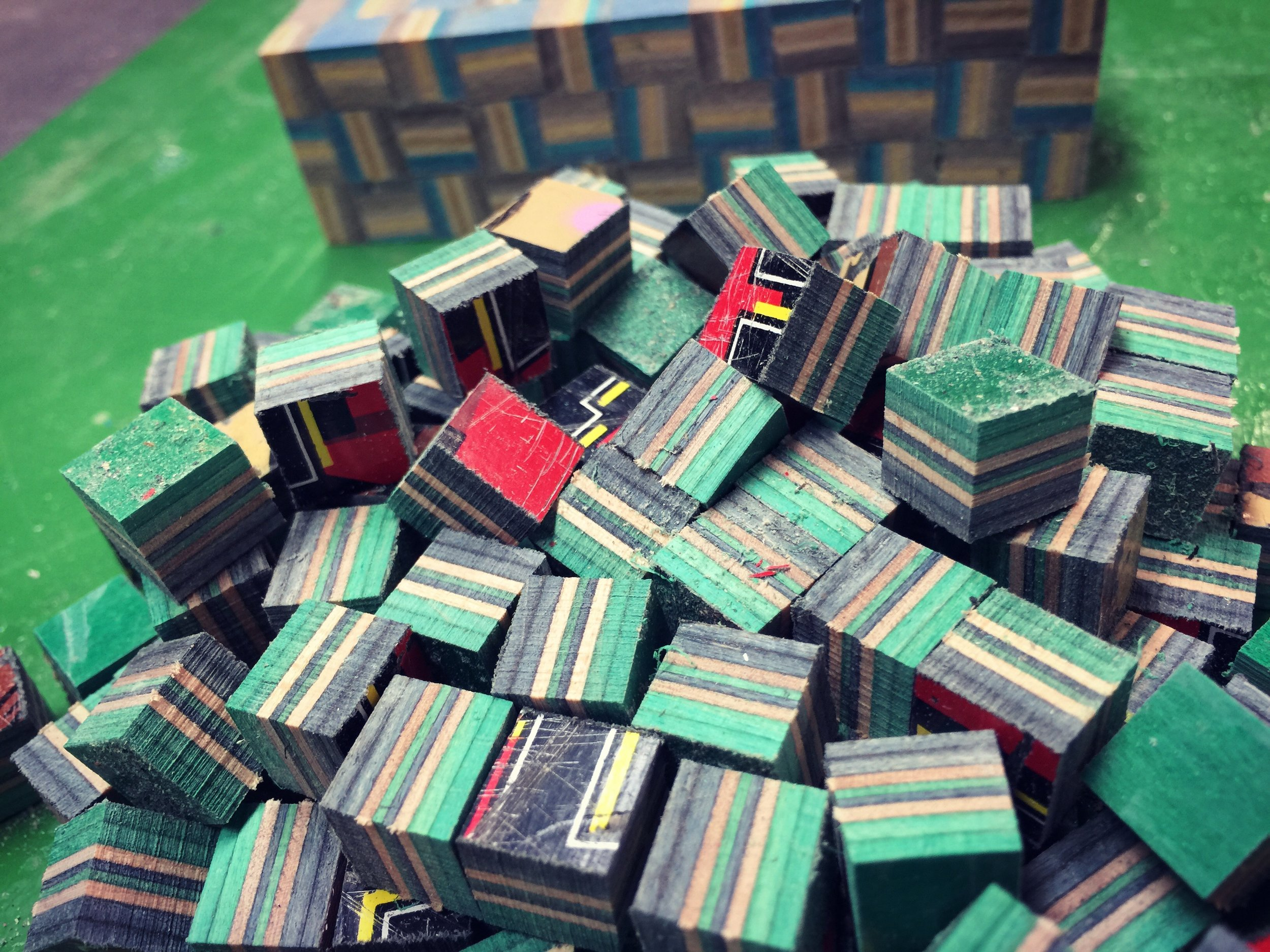 recycled skateboard cubes