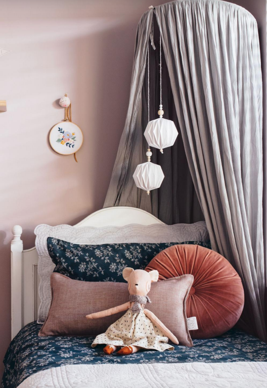 Camomile London bedlinen and Numero74 canopy featured in this gorgeous girl's room designed by Elise Grossman and photographed by Tarina Lyell  MINTY MAGAZINE 2018's collector edition