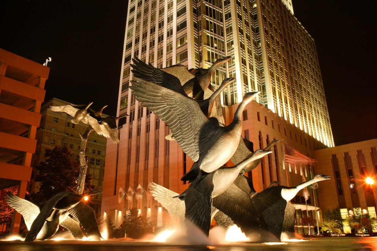 Past work #12 Geese Fountain Omaha Nght Shot (1).JPG