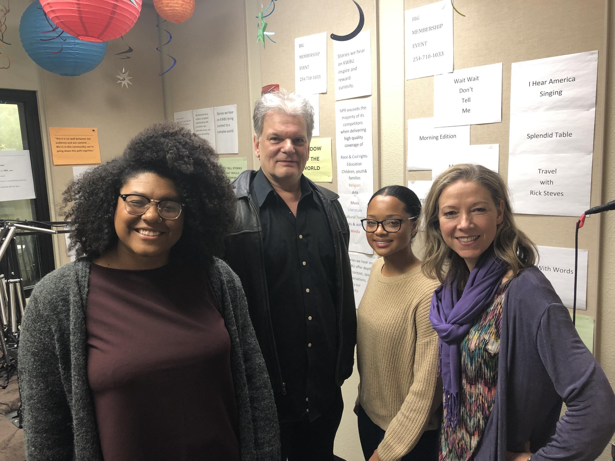 (From left to right) Rae Jefferson, Chuck Jennings, Kennedy Sam and Fiona Bond in the KWBU Studios on Jan. 15, 2019.  (KATELEIGH MILLS/KWBU RADIO)