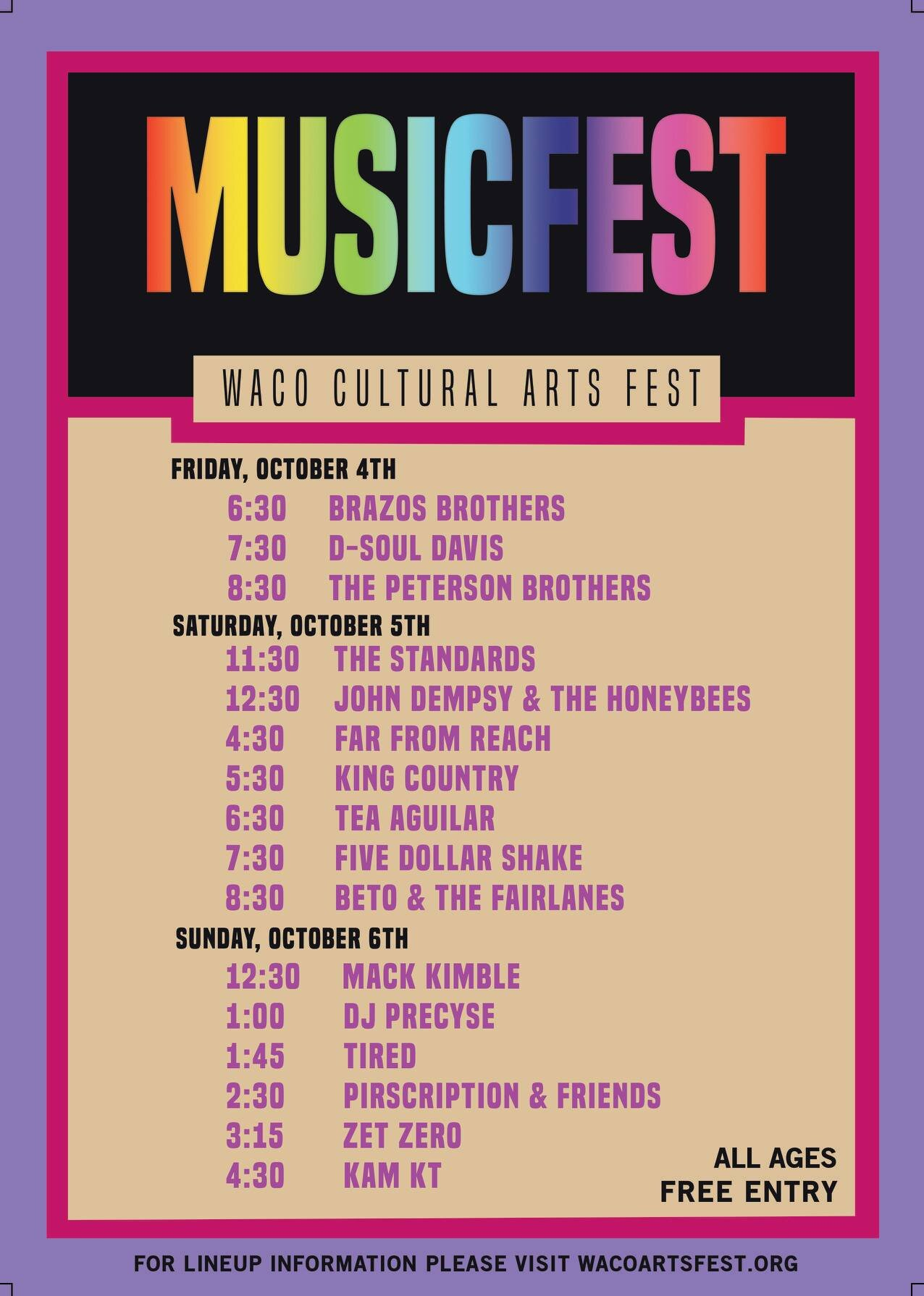 MusicFest Line Up. Visit WacoArtsFest.org for more information. Graphic by Waco Cultural Arts Fest & Keep Waco Loud.