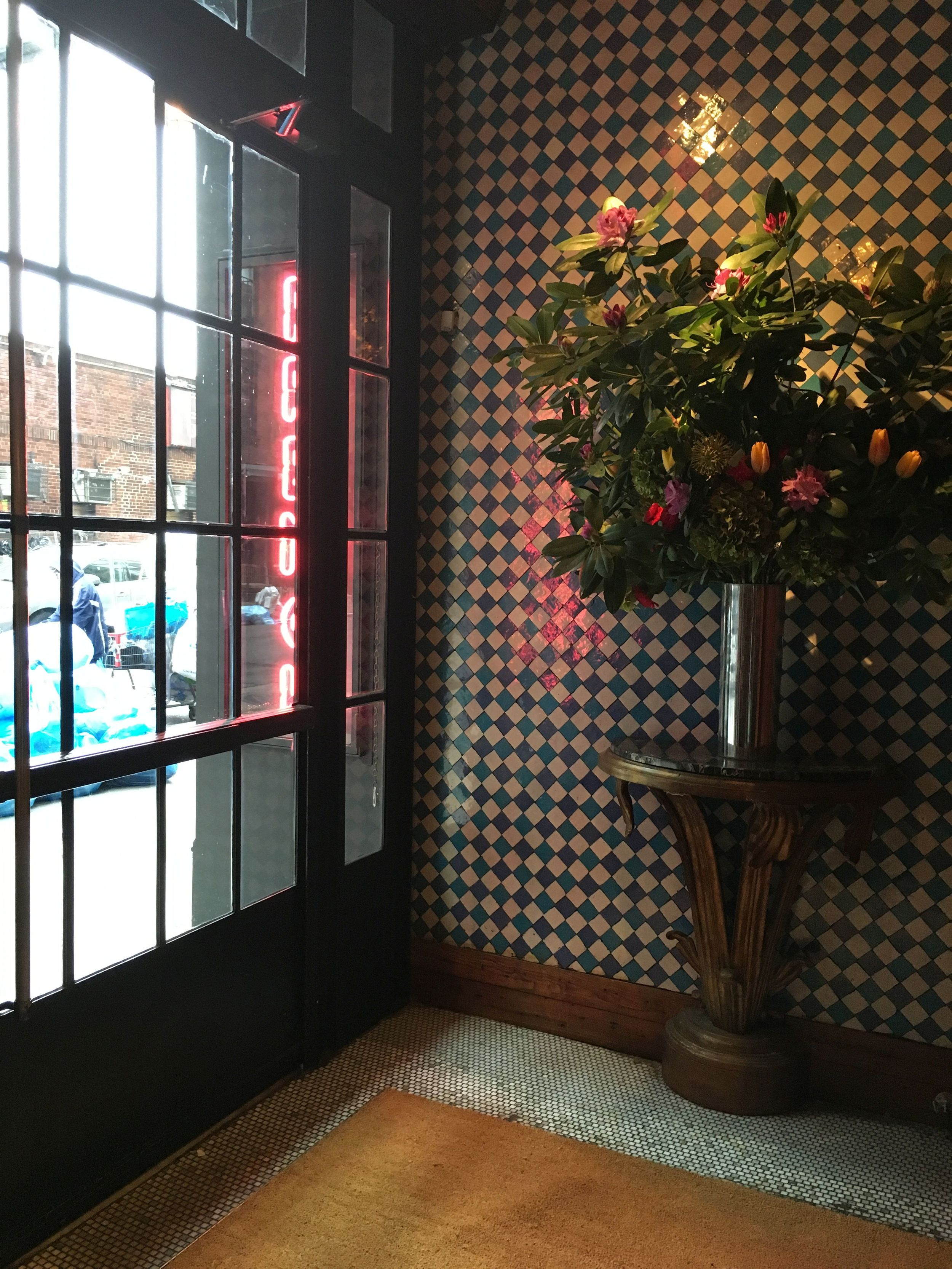 floral arrangement and tile work...