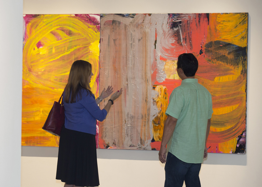 Visitors are framed by Fran O'Neill's  leading at the  Confronting the Canvas  members' preview. Image courtesy of Thomas Hager.
