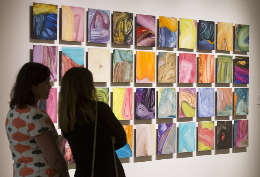 Fran O'Neill discusses her process in front of the grid of forty untitled panels at the  Confronting the Canvas members' preview. Image courtesy of Thomas Hager.