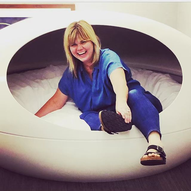 Another great moment from yesterday (i.e. Installation Day shenanigans): AP caught a quick moment in the nap pod at the Hawks Practice Facility. #lovewhatyoudo #artconsulting #womeninbiz #workwithyourfriends #birkenstockstyle