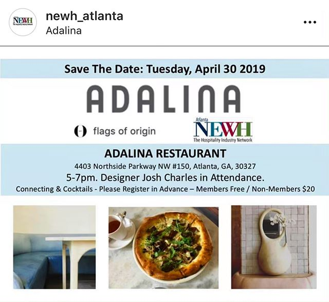 We have planned another great networking opportunity next Tuesday at Adalina in Atlanta. Hospitality design folks, please join us! . . . @adalinaitalian @flagsoforigin @newh_atlanta @newhinc #hospitalitydesign #networking #weloveatlanta #atlantarestaurants #restaurantdesign #atlantaeats