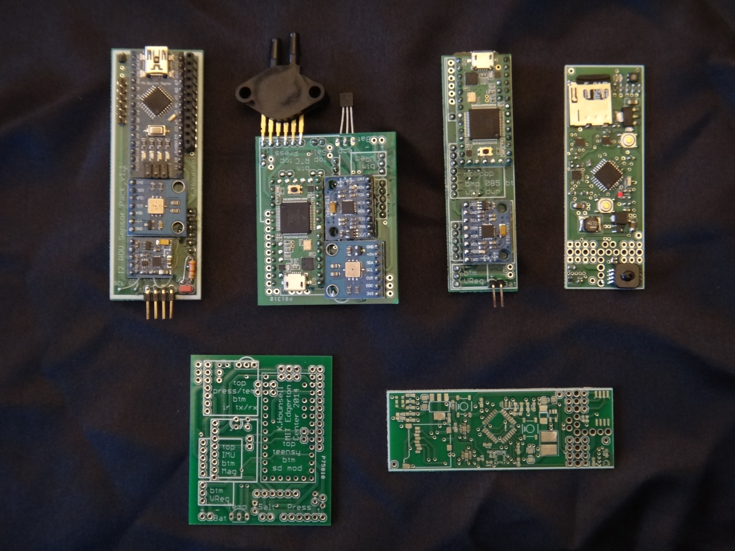 From top left: I2 ROV sensor pack (cancelled), General datalogger Rev 1  (limited run), General datalogger Rev 1 slim form factor (limited run), Seaglide datalogger (production).
