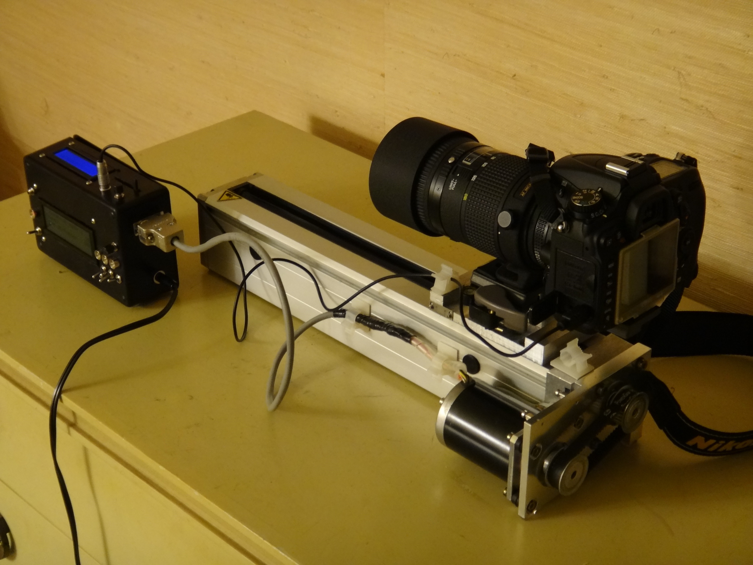 The completed rail, with mounted camera.