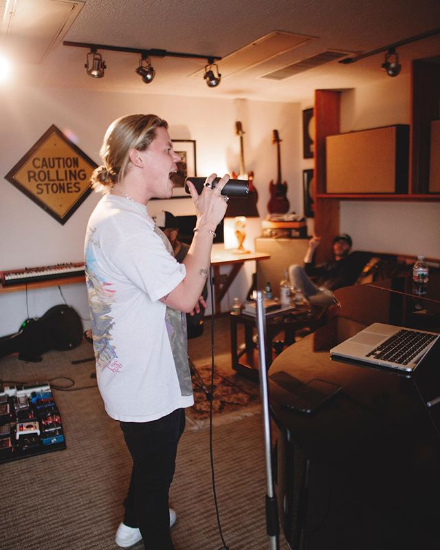 Our good friend @conradofficial hitting the high notes in a writing session with @ciscoadler and @estradamartin yesterday! Always creating. Always learning. 📷 @forgetbrennan 🐛🦋