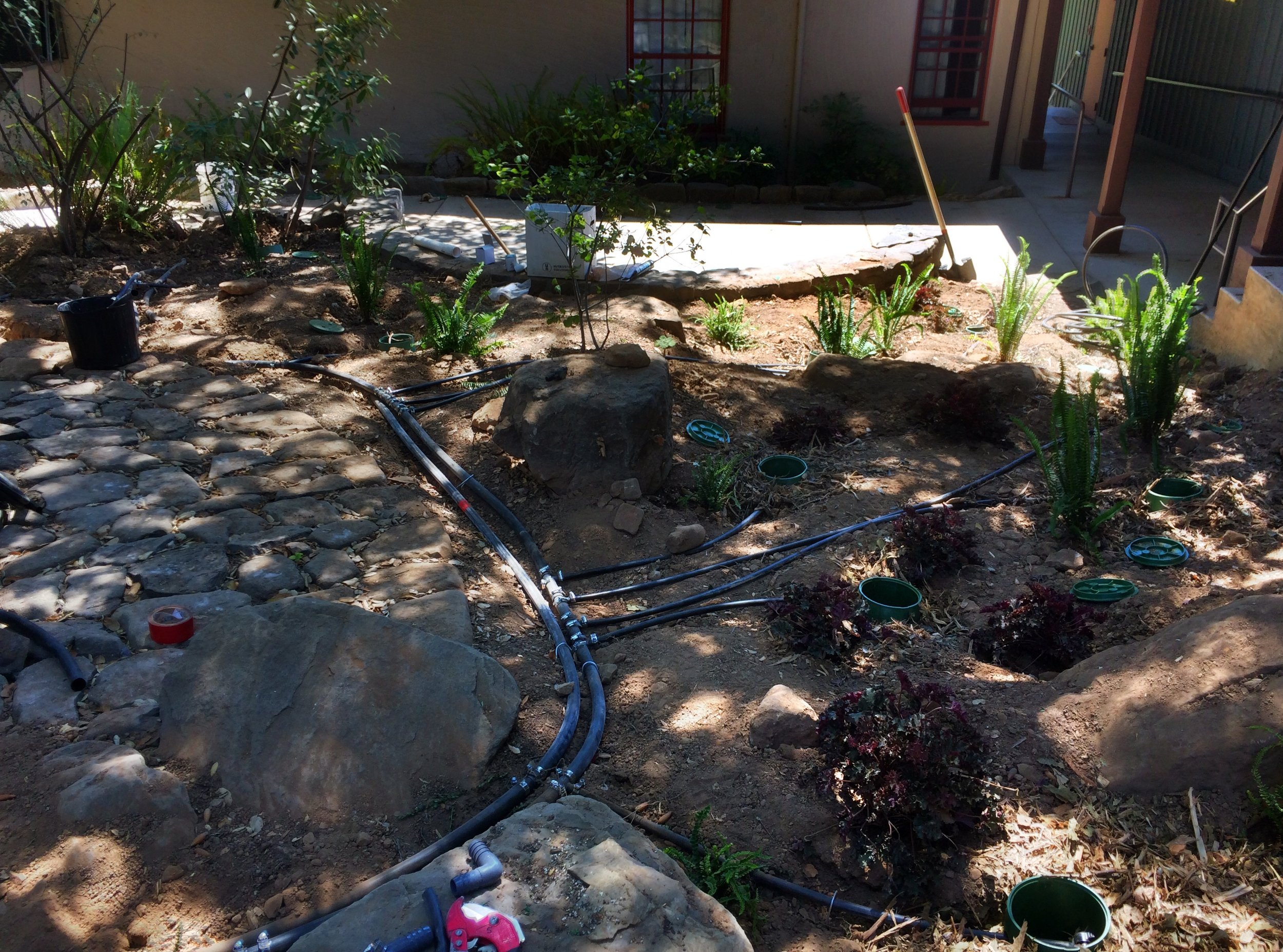 Laundry to Landscape greywater system being installed