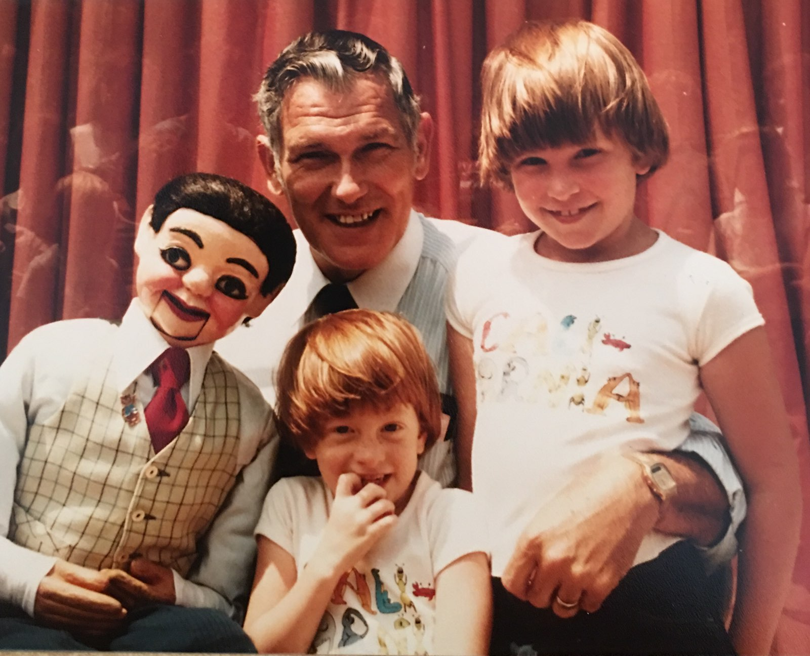 my sister and I with Frank Buckley and his puppet, Daniel. Frank ran the kids program at the conference we went to as kids.