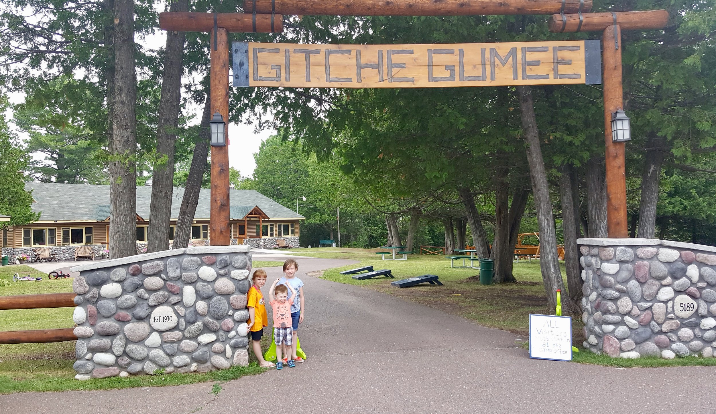 My three kids at the Bible camp we go to each summer.