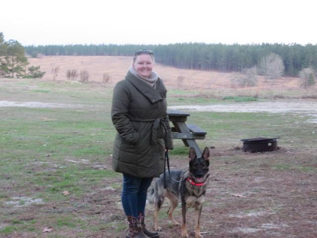 Me and Karma on a camping trip, watching the bird dogs train.