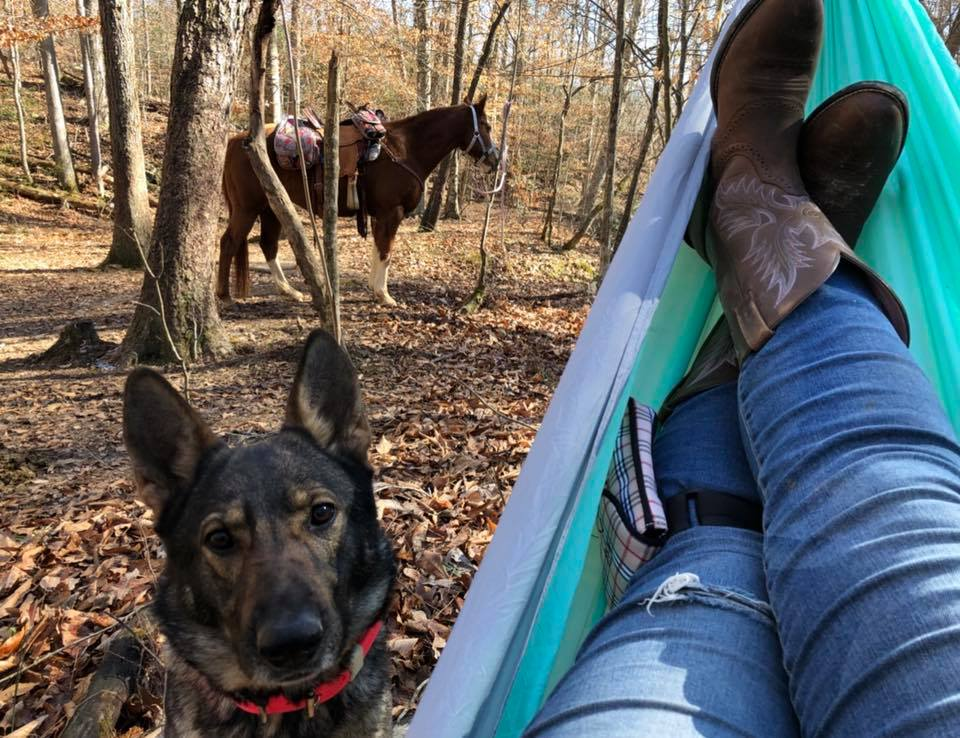 Karma hanging out with me at our turnaround/ break spot.