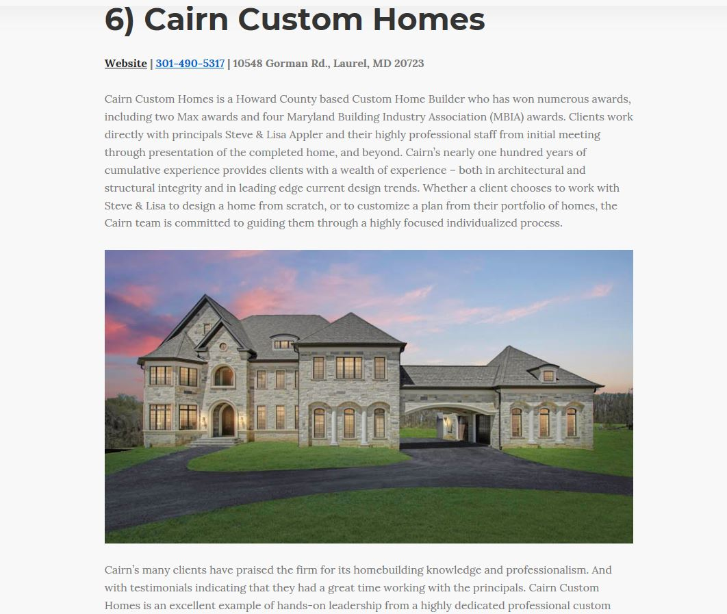 Cairn Custom Homes Named As One Of Baltimore S Best Builders Cairn Custom Homes