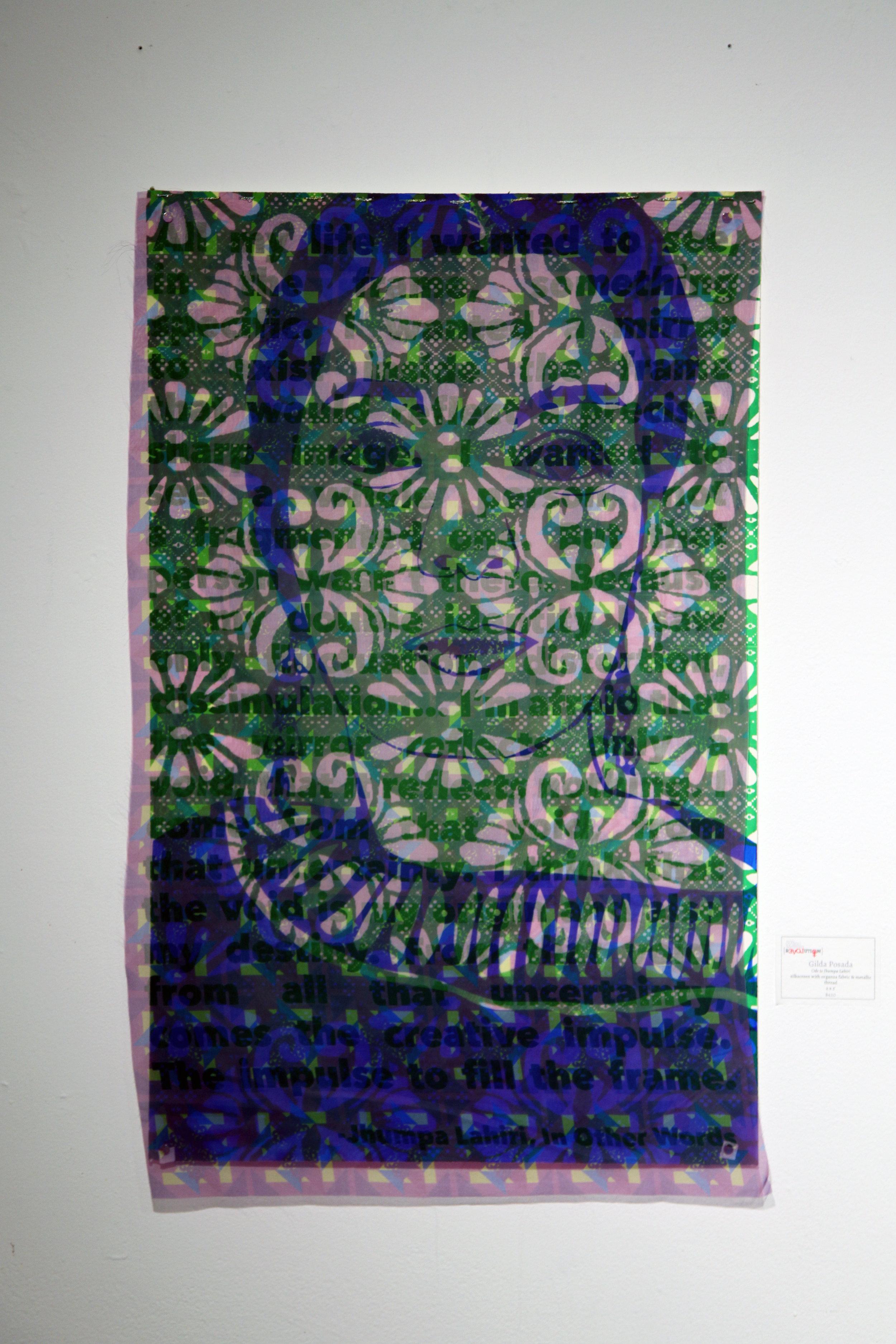 Oda a Jhumpa Lahiri Silkscreen and Organza Fabric with Gold Thread 2017