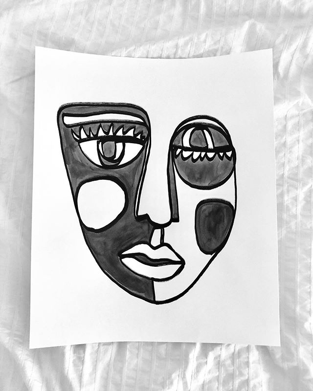 "Here  2019 Ink on paper  14""x17""  #inkonpaper #linedrawing #portrait #faces #blackandwhitedrawing"