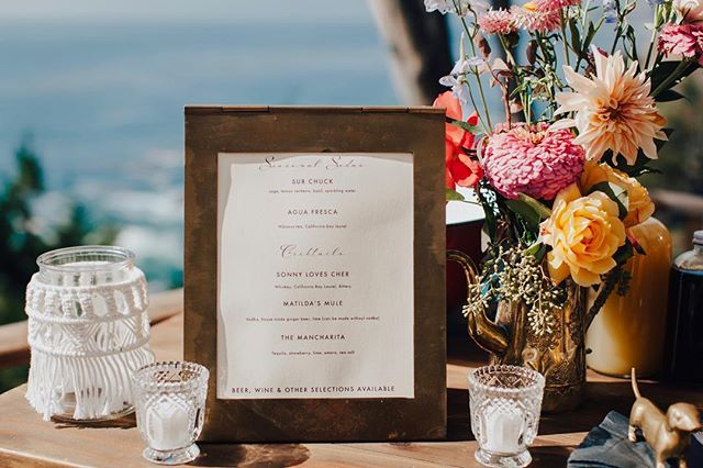 A Big Sur bar ✨ photo @evynnlevalley flowers @big_sur_flowers catering @seastarsbigsur for the beautiful bride @jessmunks ✨