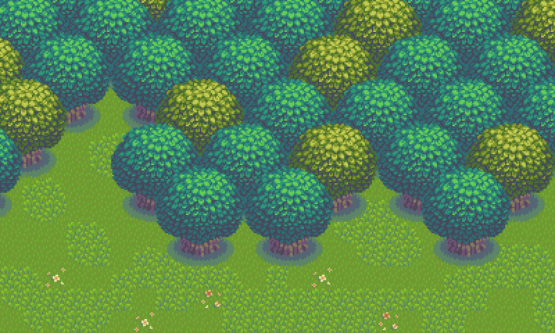 Using simple shapes and visual symmetry, a pleasing canopy of dense forest can be made with a single base asset.