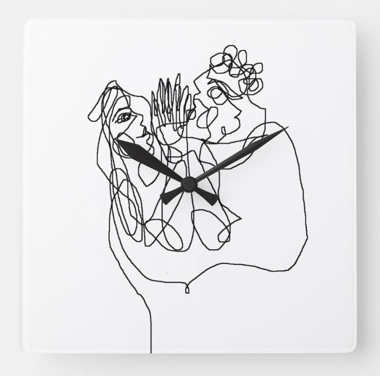 digital linear art print on clock 2018