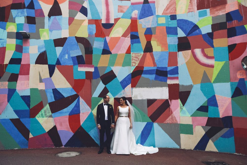 Councillor Harley and wife Rebekah recently tied the knot and incorporated a Perth mural into their wedding photos. Photo provided by Reece Harley.