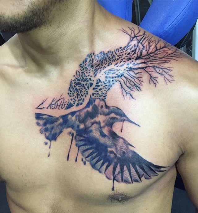 Watercolor style raven/tree stylized #picoftheday  #lifeartcreations  #losangelestattooartist  #chesttattoo  #gratitude  #love  #watercolor  #negativespace  #tree