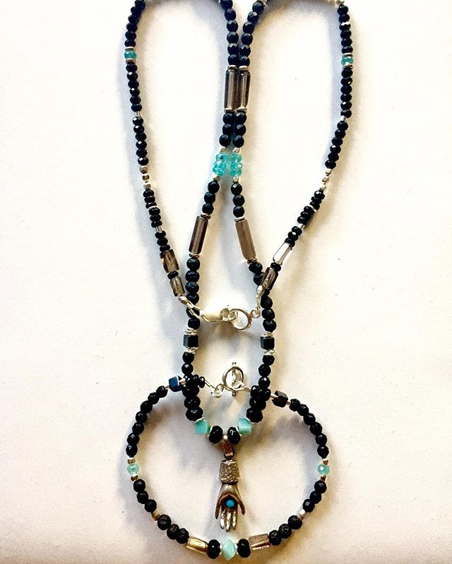 An Exquisite Custom made Necklace and Bracelet for a freind using an family Heirloom pendant. Silver 925 , Black Agate,  Black Tourmaline, lava rock, black Garnet, Smokey Quartz, Amazonite, and Aquamarine