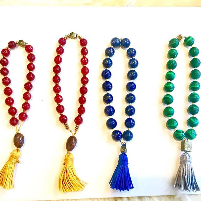 Some new handmade Sacred Mala bead Bracelets for chant, prayer, or fashion.  Gold fill accent & Crystal Gemstone. Malachite, Lapis Lazuli , Red Jade, pyrite, and Pietersite. Contact me if you would like to buy one or have one custom made.