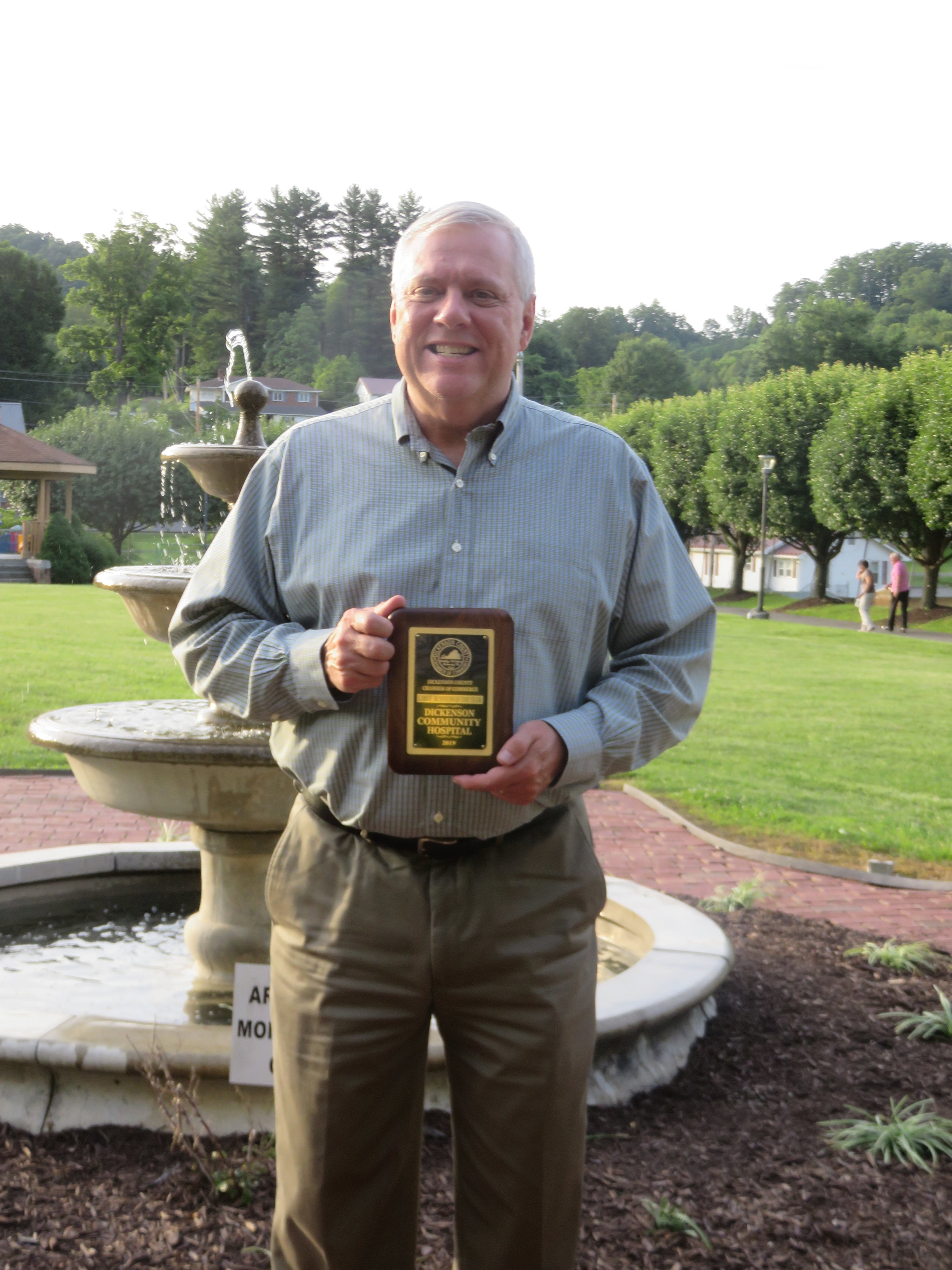 Mark Vanover accepting award for Dickenson Community Hospital