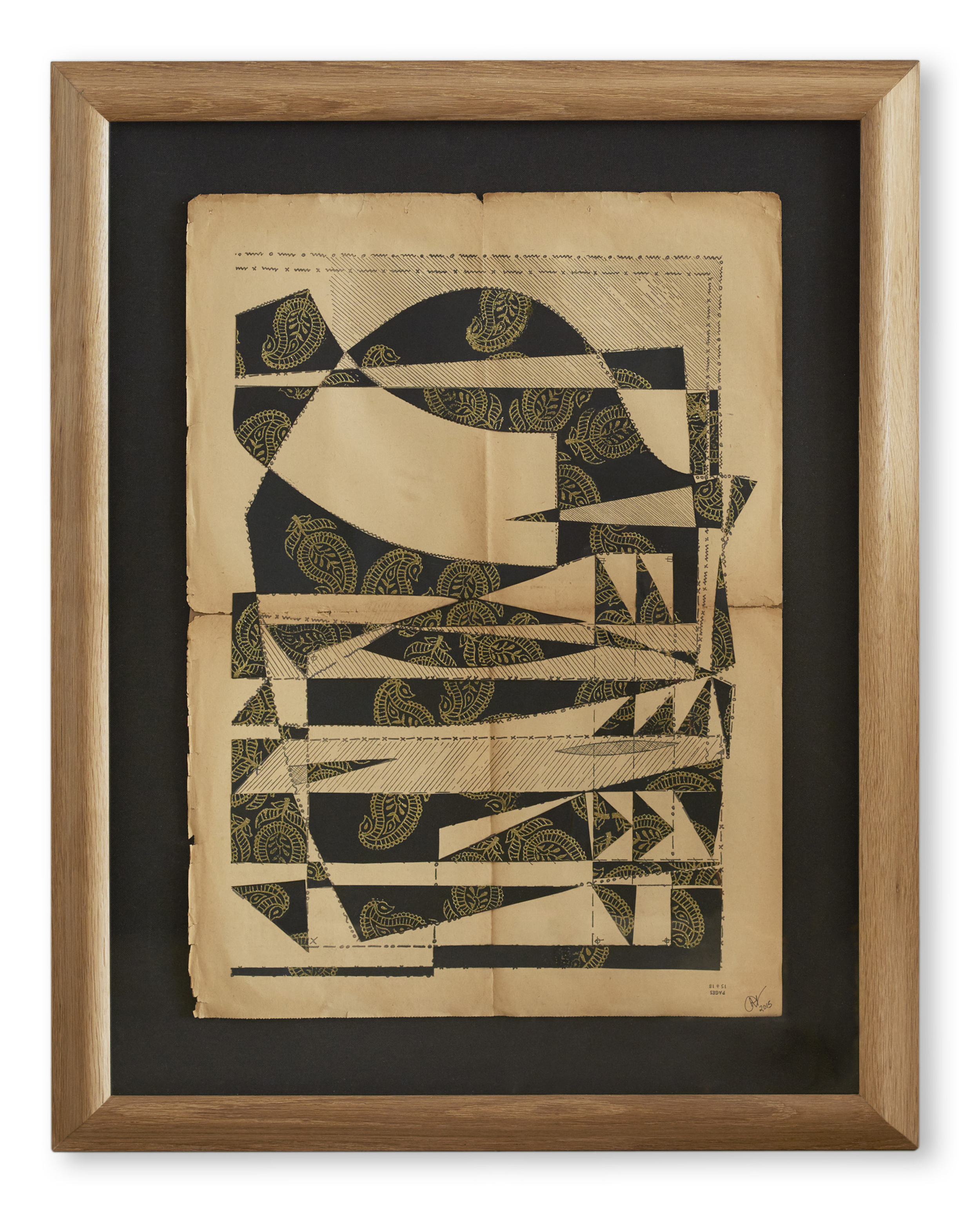 Paisley Paper Cut ,  2015  Wood cut print collage on original French sewing pattern  79 x 62.5 cm (framed) £2500
