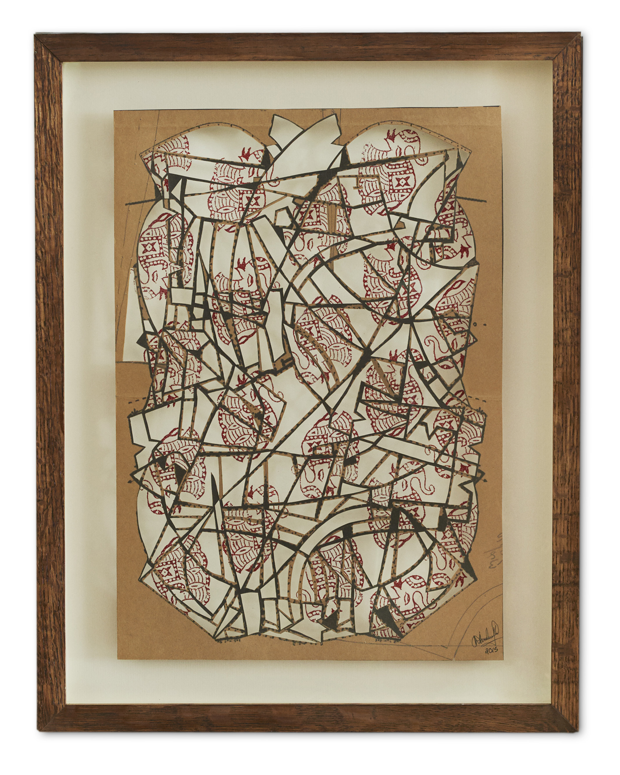 Delicate Architecture of her Body ,  2015  Original bespoke tailoring pattern cut-out relief on  traditional wood cut print  53.2 x 41.5 cm (framed) £1500
