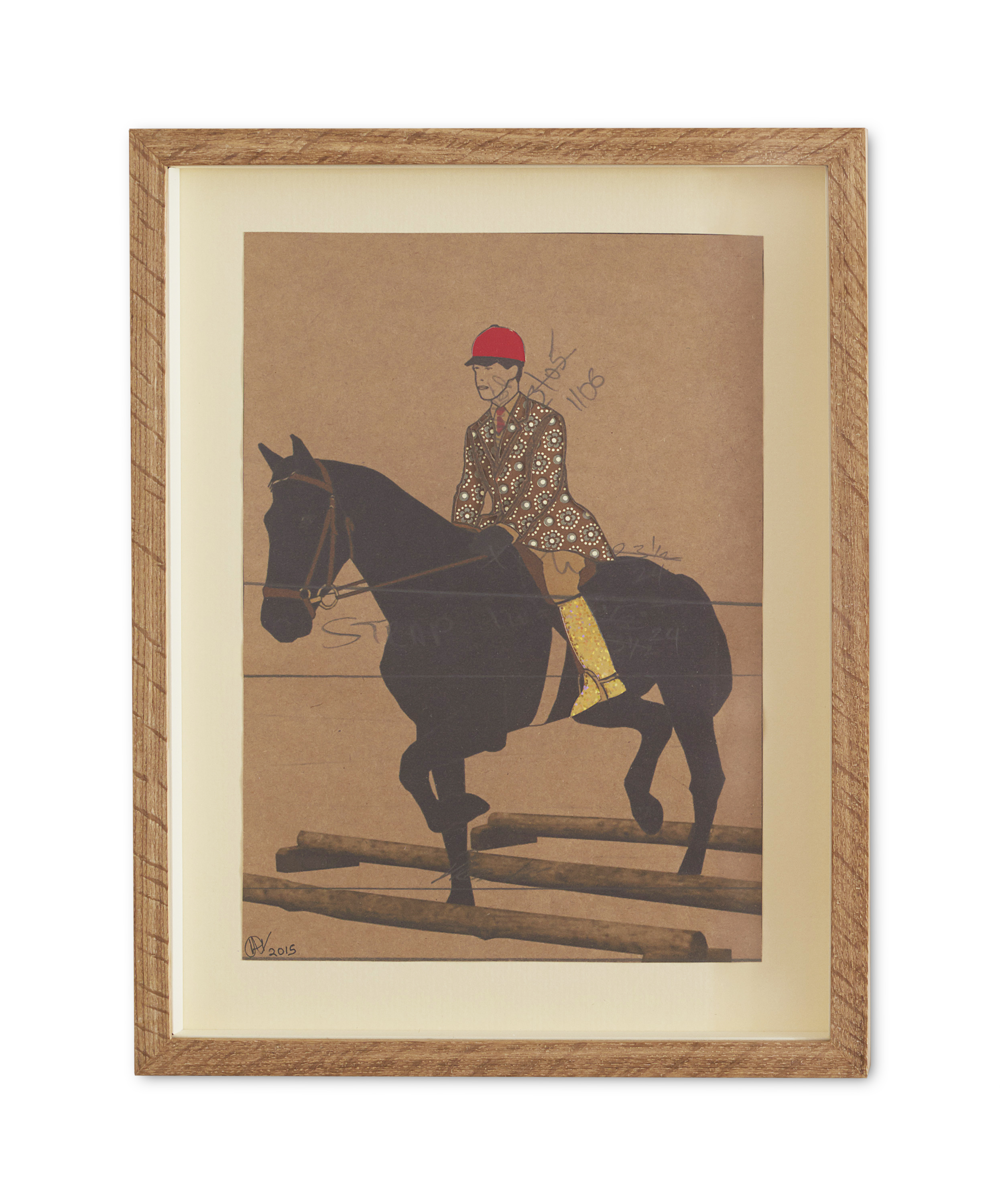 Golden Booted Equestrian ,  2015  38.2 x 29.6 cm (framed) £440
