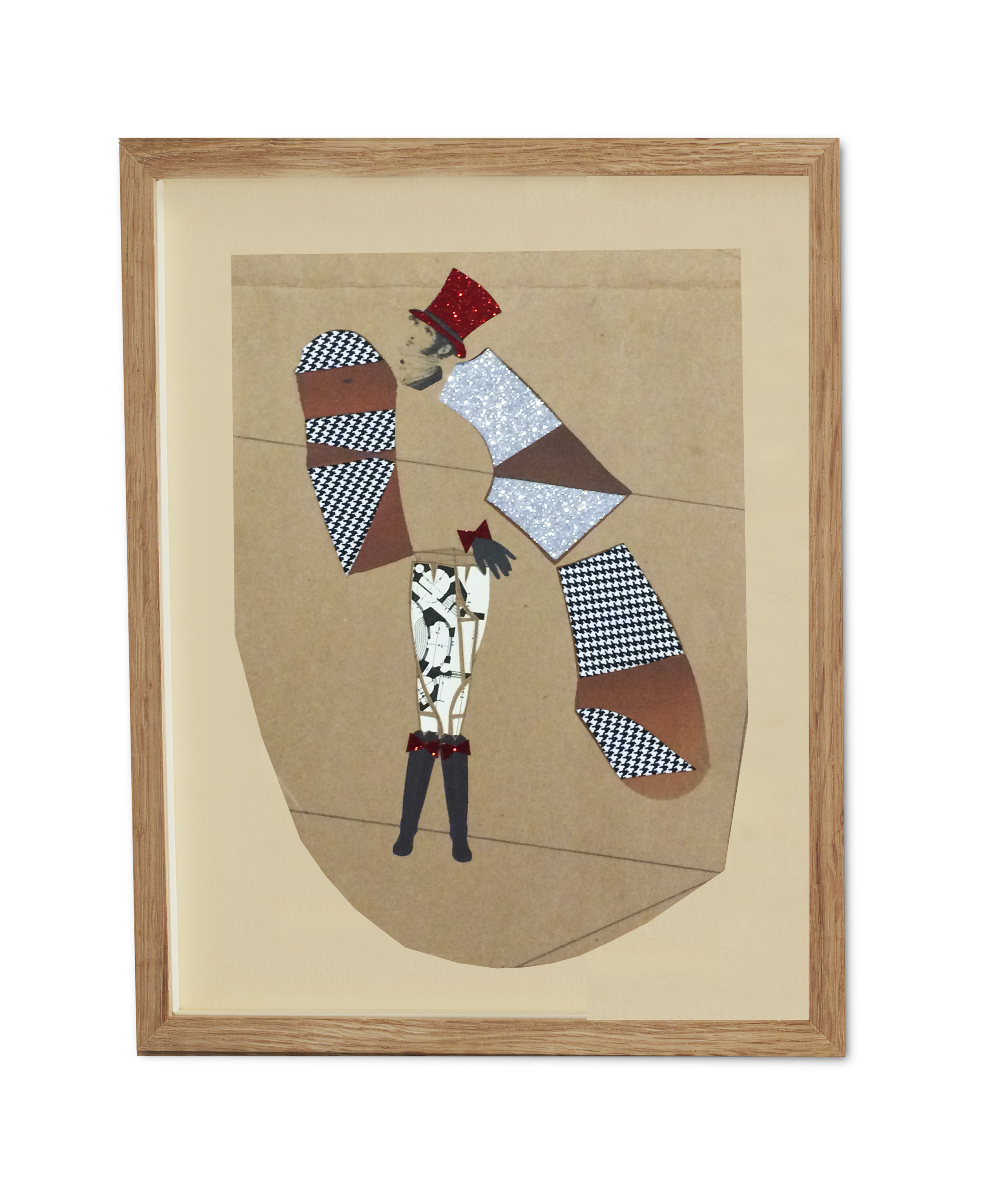 Dogtooth and Silver Glitter Peacock Gentleman ,  2015  38.2 x 29.6 cm (framed) £440